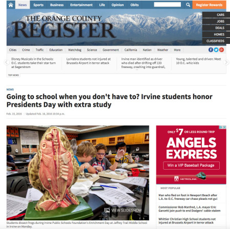 Orange County Register President's day off, IPSF